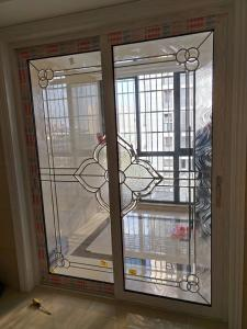 China 2017 decorative leaded glass inserts for sliding door with brass came 1 inch thickness on sale