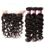 Natural Wave Virgin Peruvian 100% Human Hair Unprocessed Bundles Frontal