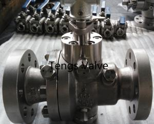 China Cast stainless steel A351-CF8M split body reduced bore flanged trunnion mounted ball valve on sale