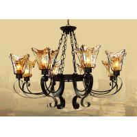 Black 8 Light Home Decorative Wrought Iron Chandelier With Amber Glass Shade