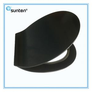 China Soft Closing Feature Ultra Slim Oval Shape Black Ceramic Toilet Seat on sale
