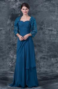 China Stylish Sweetheart Neck Royal Blue Chiffon Ruffle Cheap Mother Of The Bride Dresses With Beaded Lace Jacket on sale
