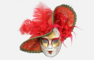 China Red Feather Venetian Carnival Masks / 17 Jester Masquerade Masks on sale