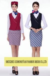 China TR Fabric Airline Stewardess Uniforms Dress / Airline Attendant Costume on sale