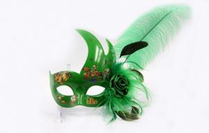 China Christmas Venetian Green Face Feather Masquerade Masks For Women on sale