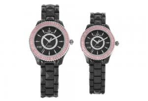 China Ceramic Couple Wrist Watches, Unisex Band Watch With Pink Stone 3 - 10ATM on sale