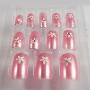 Quality 3D Diamond Light Pink Salon Fake Nails False Acrylic ABS Long