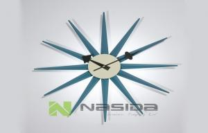 China Multi Color Big George Nelson Blue Sunburst Decorative Wall Clocks with Wooden Arms on sale