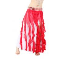 Elegant Two row crystals chiffon tribal belly dance skirts for women