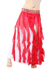 China Elegant Two row crystals chiffon tribal belly dance skirts for women on sale