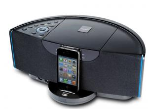 China Wireless docking station speaker for iphone ipad ipod with AV out FM radio alarm clock on sale