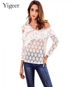 China Long Sleeve Mesh Lace Women's Top Blouse on sale