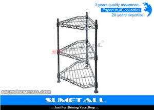 China 3 Levels Corner Shaped Pantry Wire Shelving / Wire Metal Shelving For Household on sale