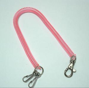 China Plastic Translucent Pink Long Spring Coil Key Chain Holder w/Executive Swivel and J-Hooks 2pcs on sale