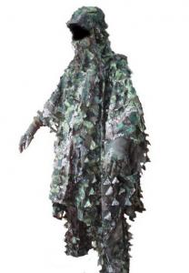 China 3D Leaves Camouflage Ghillie Poncho Camo Cape Cloak Stealth Ghillie Suit Military CS Woodland Hunting Poncho on sale