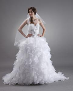 China Custom made Luxurious layered ruffled Ladies Wedding Dresses slim with Lace Skirt on sale