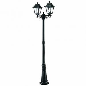 China Twin Head Antique Cast Iron Lamp Post Powder Coated For House / Garden / Park on sale