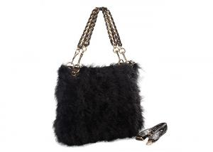 China Chain Shoulder Strap Black Fur Hobo Bag / Genuine Leather Hand Bags on sale
