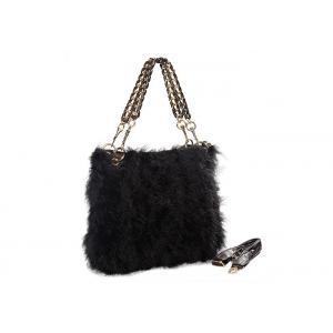 China Chain Shoulder Strap Black Fur Hobo Bag / Genuine Leather Hand Bags on sale