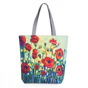 China Floral Printed Canvas Casual Womens Reusable Shopping Bags With Logo on sale