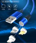 Round Magnetic Data Cable 360 Degree  8 - Pin For Android Type - C Nylon Braided