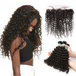 Smooth Deep Wave Bundles With Lace Frontal 12A Virgin Brazilian Hair / Soft Black Human Hair