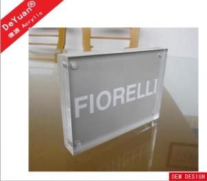 China Magnetic Rectangle Clear Acrylic Photo Pictures Frames With Silk - Printed Logo on sale