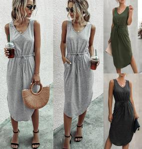 China 2020 Summer Fashion Leisure Pure Color V Neck Long Vest Dress on sale