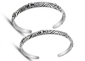 China Gorgeous Vintage Stainless Steel Bangle Bracelets , Cross Open Cuff Bracelet For Biker Jewelry on sale