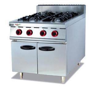 China Silvery White 4 Burners Gas Cooking Stoves With Storage Cabinet 12 Months Guarantee on sale
