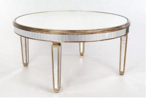 China Fashionable Mirrored Round Dining Table , Large Size Glass Top Dining Room Tables on sale