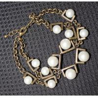China 2013 new artificial metal casting jewelry antique gold chain imitated pearl bracelet on sale