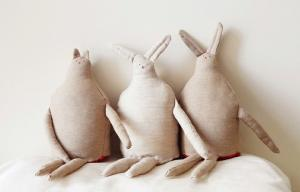 China Long Ears Mr Rabbit in linen Soft toys , fabric Handmade decorative doll 35cm on sale