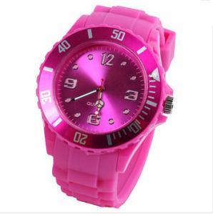 China Waterproof Geneva Silicone Quartz Watch , Japan Movement Quartz Analog Wristwatch on sale