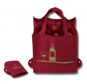 China Reusable Foldable Grocery Bags , 6 Bottle Non Woven Wine Bottle Bags on sale