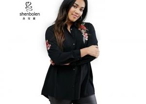 China Floral Embroidered Plus Size Ladies Shirts Clothing Black Color Long Sleeve on sale