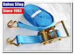 China Blue E Track Ratchet Tie Down Straps For Trucks 35mm Webbing Acid Resistance wholesale