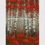 Hand Painted Modern Art Oil Painting Brich Forest , Abstract Landscape Painting