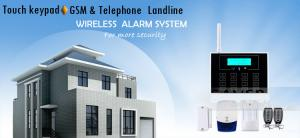 China GSM Telephone Lind House Security Alarm System With Touch Screen Triple Bands Worldwide on sale