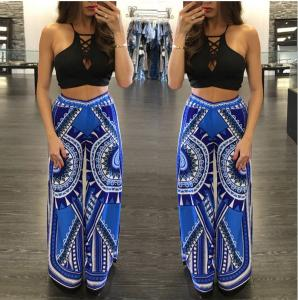 China breathable loose cotton printed long blue trouser with elastic waist on sale