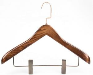 China luxury Ash Wooden Suit Hanger with Clips Bar on sale