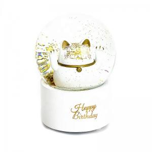 China Business White Resin Crafts 100mm Lucky Cat Snow Globe on sale
