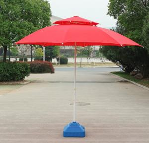 China Folding Windproof Beach Umbrella Lightweight White Power Coated Wire Pole on sale