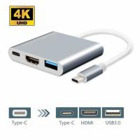 USB C Hub Adapter,3 in 1 Type C HDMI dongle for MacBook/MacBook Pro, Google Chromebook with USB C Charging Port, 4K HDMI