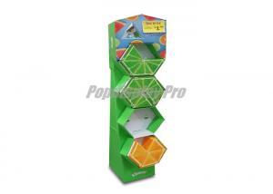 China Verde da pessoa de pé da exposição do tecido de Kleenex do impacto com as 4 prateleiras do hexágono on sale