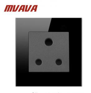 China Mvava 15A South Africa Switched Socket Luxury Black High Quality Crystal Glass South Africa Wall Socket on sale