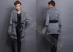 China Autumn Elegant Chunky Womens Wool Sweaters with Belt Cowl Neck in Gray on sale