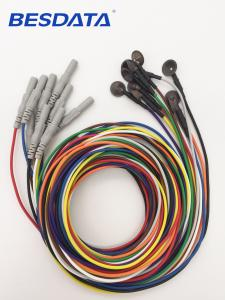 China EEG Silver Cup Electrodes Wire with 1.5 DIN Plug Assorted Colors Package on sale