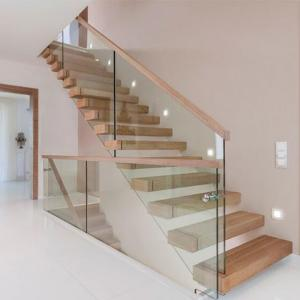 China Hot selling  frameless glass railing solid rubber wood steps build floating staircase designs wood stairs on sale