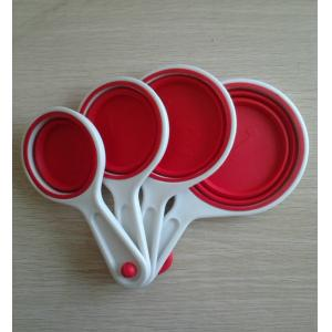 China Red Non-toxic Silicone Kitchenware Collapsible Measuring Spoon For Gift on sale